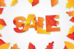 Jesieni sprzedaży tła układ dekoruje z słowem w liściach klonowych i liściach dla robić zakupy ilustracji