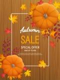 Jesieni sprzedaży tło Pionowo sztandar ulotka z banią, liście na drewnianej stołowej Specjalnej sezonowej ofercie Fotografia Royalty Free