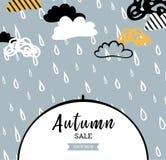 Jesieni sprzedaży tło z deszcz kroplami dla robić zakupy plakat, ramy sieć i ulotkę sprzedaży lub promo lub sztandar 10 tło proje Ilustracji