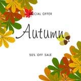 Jesieni sprzedaży tło z rocznika kolorowym urlopem Obrazy Royalty Free