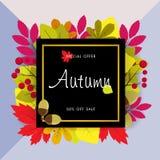 Jesieni sprzedaży tło z rocznika kolorowym urlopem, wektorowy illus Zdjęcia Royalty Free