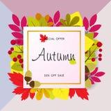 Jesieni sprzedaży tło z rocznika kolorowym urlopem, wektorowy illus Obrazy Royalty Free