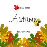Jesieni sprzedaży tło z rocznika kolorowym urlopem, wektorowy illus Obrazy Stock