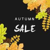 Jesieni sprzedaży tło z rocznika kolorowym urlopem, wektorowy illus Fotografia Stock