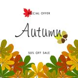 Jesieni sprzedaży tło z rocznika kolorowym urlopem, wektorowy illus Obraz Stock
