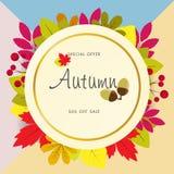 Jesieni sprzedaży tło z rocznika kolorowym urlopem, wektorowy ilustracyjny szablon Obrazy Royalty Free