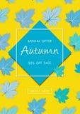 Jesieni sprzedaży tło z rocznika kolorowym urlopem, wektorowy ilustracyjny szablon, sztandary, tapeta, zaproszenie, plakaty, broc fotografia stock