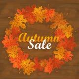Jesieni sprzedaży teksta sztandar z kolorowym sezonowym spadkiem opuszcza dla robić zakupy rabat Obrazy Royalty Free