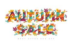 Jesieni sprzedaży typografii projekt ilustracji