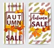Jesieni sprzedaży ulotka dwa z jesień liśćmi obrazy stock