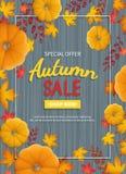 Jesieni sprzedaży ulotka Pionowo sztandaru tło z banią, liście przy prostokątną ramą na drewnianym stole Zdjęcia Royalty Free