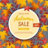 Jesieni sprzedaży ulotki szablon Plakat, karta, etykietka, tło, sztandar na okrąg ramie z liśćmi na drewnianym stole Zdjęcie Stock