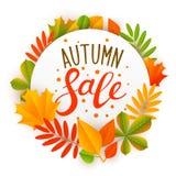 Jesieni sprzedaży wiadomość z liśćmi ilustracja wektor