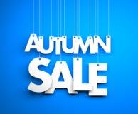 Jesieni sprzedaż - teksta obwieszenie na sznurkach Zdjęcie Stock