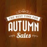 Jesieni sprzedaży rocznik na drewnianym tle Obrazy Royalty Free