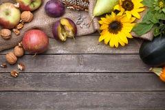 Jesieni tło na drewnie obrazy stock