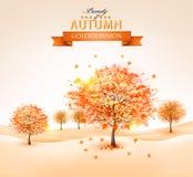Jesieni tło z kolorowymi liśćmi i drzewami Wektorowy illustra ilustracji