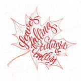 Jesieni tło z liści spadać Kaligrafia graficznego projekta element Obrazy Stock