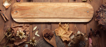 Jesieni tło z owoc i pikantność z wysuszonym kwiatu placem Zdjęcia Stock