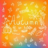 Jesieni tło z ręka rysującymi elementami Ilustracja Wektor