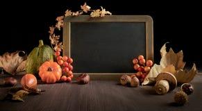 Jesieni tło z sezonowymi dekoracjami na drewnie, przestrzeń zdjęcia stock