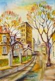 Jesieni ulica w starym miasteczku obraz royalty free