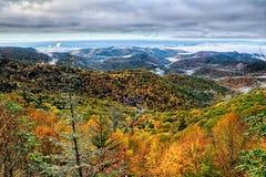 Jesieni ulistnienie na błękitnym grani parkway blisko maggie dolinnej północy ca obraz royalty free