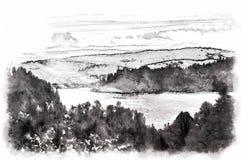 Jesieni ulistnienie w lesie wzdłuż jeziora z niebieskimi niebami i chmurami ilustracja wektor