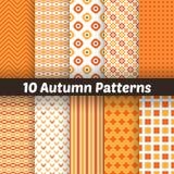 10 jesieni wektorowych bezszwowych wzorów endless royalty ilustracja
