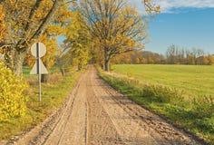 Jesieni wiejska droga, Latvia Obraz Royalty Free