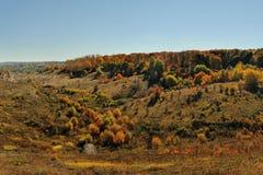 Jesieni wzgórza z drzewami i krzakami w Rosja Zdjęcia Royalty Free