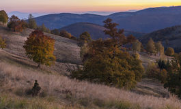 Jesieni wzgórzy lasowy zmierzch Krajobrazowa fotografia wzgórza w jesieni Kolorowa roślinność na wzgórzach w jesieni Zdjęcia Stock