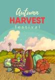 Jesieni zbierać Wektorowa ilustracja grupa wiele owoc i warzywo ilustracja wektor
