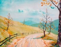 jesienna road ilustracji