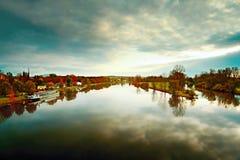Jesienna sceneria przy zbieżnością rzeki Labe i Ohre od bridżowego Tyrsuv najwięcej w Litomerice mieście w republika czech Zdjęcia Royalty Free