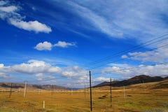 Jesienna sceneria Qinghai, Tybet plateau - Obrazy Royalty Free