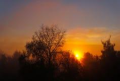Jesienna sceneria, wschód słońca Zdjęcie Royalty Free
