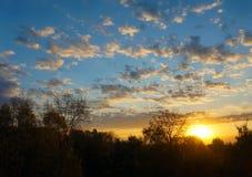 Jesienna sceneria, wschód słońca Zdjęcia Royalty Free