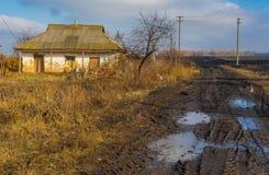 Jesienny krajobraz z zaniechanym mieszkaniem Obraz Royalty Free
