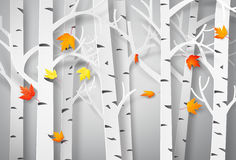 Jesienny las z spada liśćmi klonowymi ilustracji