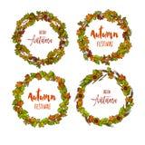Jesienny lub spadek round ramowy tło Wianek jesień liście royalty ilustracja
