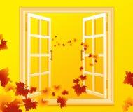 jesienny otwarte okno ilustracji