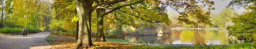 Jesienny staw w parku Fotografia Royalty Free