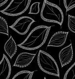 Jesienny wektorowy bezszwowy wzór z obliczającymi liśćmi Zdjęcia Royalty Free