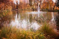 Jesienny zdroju ogród z stawem i fontanną Fotografia Royalty Free