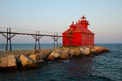 Jesiotra statku kanału Pierhead Podpalana latarnia morska, Wisconsin, usa Zdjęcie Royalty Free
