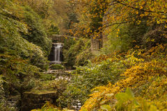 Jesmond Dene waterfall in autumn Royalty Free Stock Photography