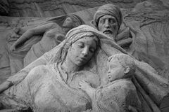 Jesolo lido, Italia : Sand Nativity 2016: wonderful sand scultures depicting the sacred family and the exodus of the bible. Royalty Free Stock Photos