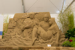 Jesolo lido, Italia : Sand Nativity 2016: wonderful sand scultures depicting the sacred family and the exodus of the bible. Jesolo lido, Italia: Sand Nativity Royalty Free Stock Photo
