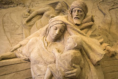 Jesolo lido, Italia : Sand Nativity 2016: wonderful sand scultures depicting the sacred family and the exodus of the bible. Jesolo lido, Italia: Sand Nativity Stock Photography
